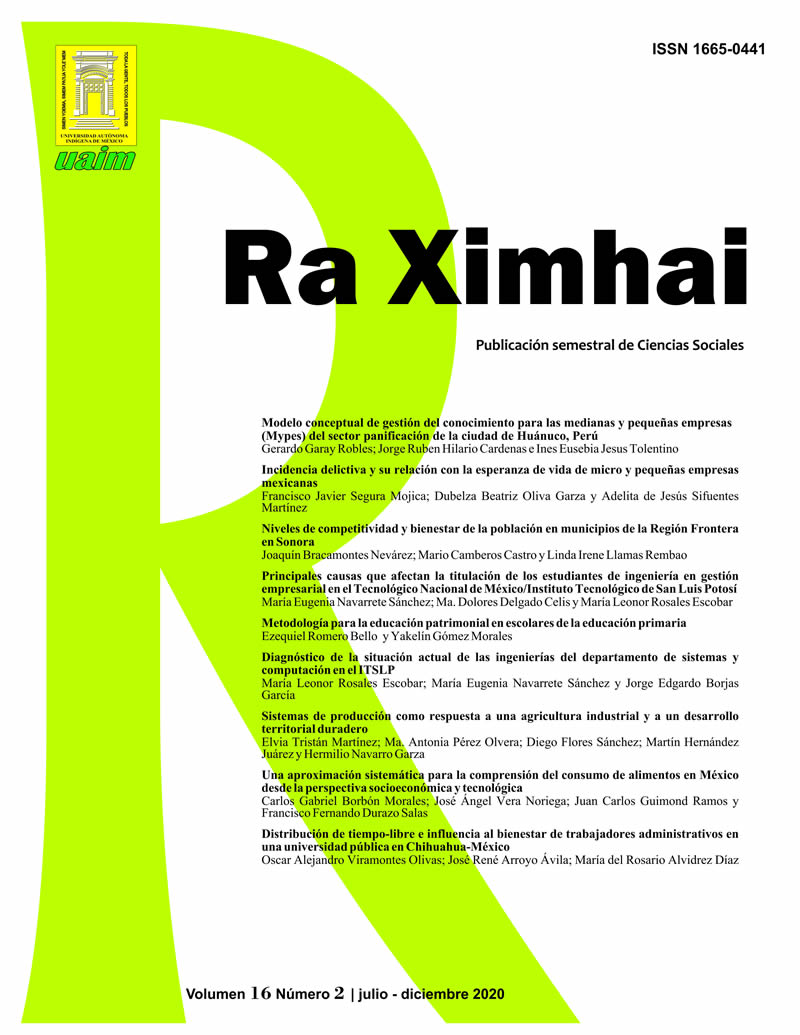 portada Revista Ra Ximhai vol 16 num 2 jul dic 2020